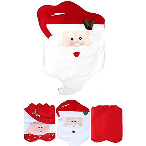Balai 1 Stück Weihnachten Stuhl Schonbezüge mit Herrn Weihnachtsmann Lächeln Gesicht, Weihnachtsschmuck für Küche, Esszimmer, Haus und Party Dekor -