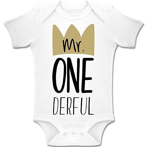 Shirtracer Geburtstag Baby - Mr One Derful - 12-18 Monate - Weiß - BZ10 - Baby Body Kurzarm Jungen Mädchen (Für 1. Geburtstag Jungen Themen)