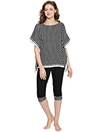 Valentine Night Suit for Women - Black and White Night wear - Top and  Pyjama Set for Ladies - Cotton Lycra Material Lounge… 7a631cfc3