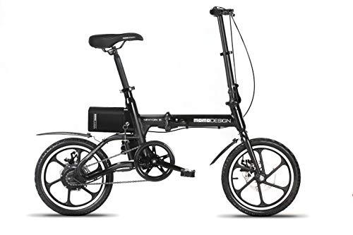 Momo Design New-York 16, Bicicletta Elettrica Pieghevole, 16'', Velocità 25km/h, Autonomia 35km, Unisex - Adulto, Nero