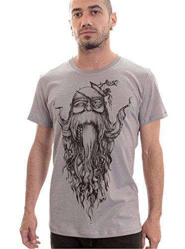 Camiseta Barbado con viejo pirata - Moda hipster con arte gráfico original de Plazmalab para hombre - Talla S, gris