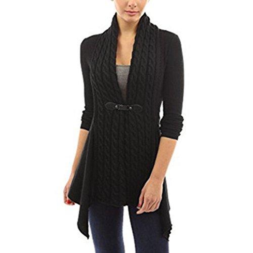 Damen Damen Lange Ärmel Pullover Strick Cardigan Outwear (L, Schwarz)