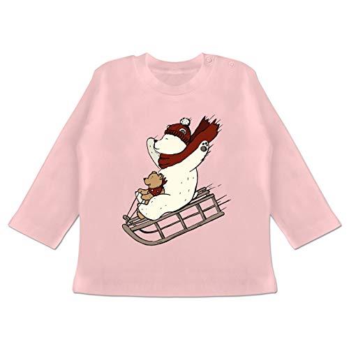 Weihnachten Baby - Bären Fahren Schlitten - 3-6 Monate - Babyrosa - BZ11 - Baby T-Shirt Langarm