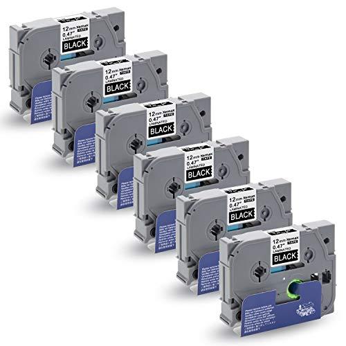 Xemax 6x Nastri Sostituisce P-touch 0.47' 12mm x 8m Tze-335 Tze 335 Bianco su Nero Etichette Cassetta per Brother P-touch PT-H105 PT-H300 PT-H101C PT-1010 PT-P750W PT-H100P PT-1000 PT-D400VP