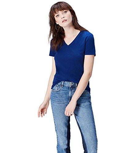 FIND Damen T-Shirt mit V-Ausschnitt Blau, 38 (Herstellergröße: Medium) (Kurzarm-shirt Blau)