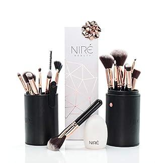 Brochas de maquillaje profesional de Niré Beauty: set completo de brochas y pinceles de maquillaje, estuche y limpiador de brochas (edición oro rosa)
