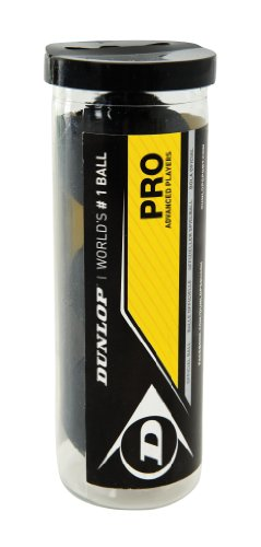 Dunlop Pro Squashball doppel gelb 3 Bälle in der Tube