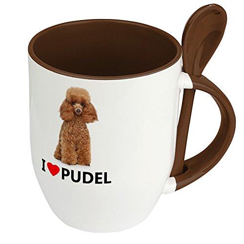 Hundetasse Pudel - Löffel-Tasse mit Hundebild Pudel - Becher, Kaffeetasse, Kaffeebecher, Mug - Braun -