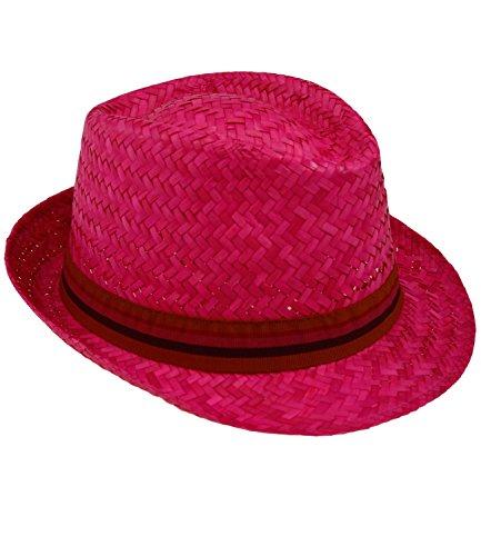 Fiebig Herrenstrohhut Strohhut Trilby Fedora Sommerhut Strandhut Sonnenhut Basthut Urlaubshut mit Ripsband für Männer (FI-595050-S16-HE0-10-59) in Pink, Größe 59 inkl. EveryHead-Hutfibel