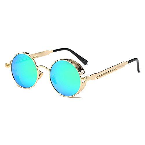 AMZTM Kleine Rund Verspiegelt Linsen Polarisiert Punk Sonnenbrille für Damen und Herren (Golden Rahmen und Grün Linse, 48)