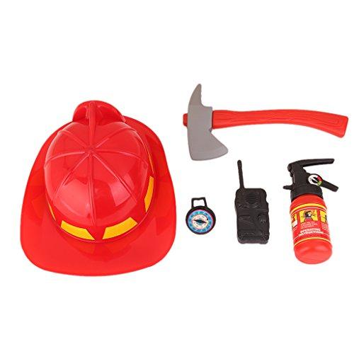 MagiDeal Klein Kinder Feuerwehrset 5-teilig Spielen Feuerwehrmann Rollenspiel