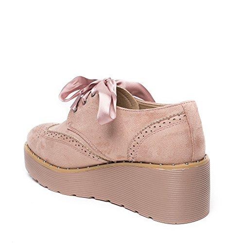 Ideal Shoes - Richelieu à plateforme effet daim et lacets satinés Tamiana Rose