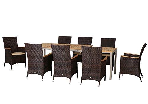 17-teilige XXL Luxus Aluminium Teak Polyrattan Geflecht Gartenmöbelgruppe 'Orlando' , 8 Diningsessel, 8 Auflage und ein Ausziehtisch Tifosi 160/280x90, champagner - maron (braun schwarz)