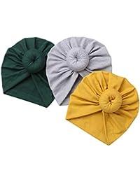d8d97ab50e13 dPois Lot de 3 Unisexe Bonnet Bébé Naissance en Coton Nouveau-Né Turban  Bonnet Indien