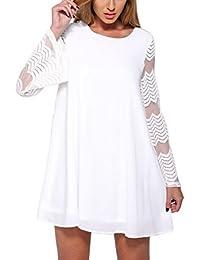 1f11530ce493 BienBien Vestiti Donna Manica Tromba Moda Eleganti Corti Chiffon Vestito In  Pizzo Vintage T-Shirt