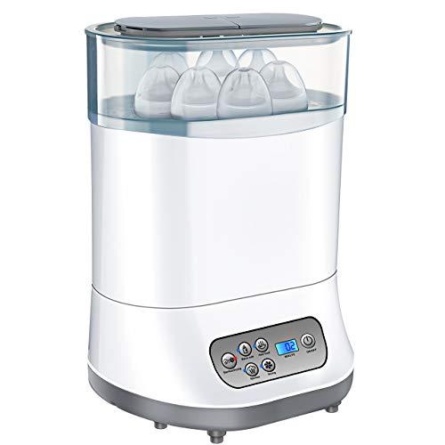OMORC Sterilisator 5-in-1 Baby Flaschenwärmer mit Trocknungsfunktion 550W Dampfsterilisator Vaporisator mit LCD-Anzeige für bis zu 6 Babyfläschchen, Sauger und Stillzubehör