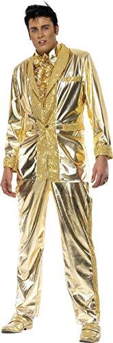 Kostüm Elvis Gold - Smiffys, Herren Elvis Kostüm, Jacke, Hemdeneinsatz und Hose, Größe: L, 29394