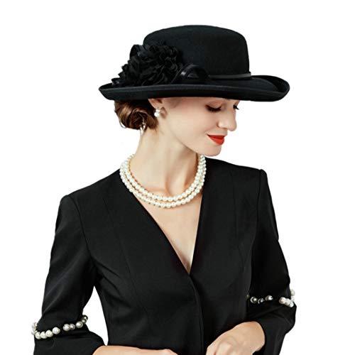 TOBEEY Frauen Wolle Fascinator Blume Hut mit breiter Krempe Vintage Retro Derby Kirche Schwarze Kopfbedeckung