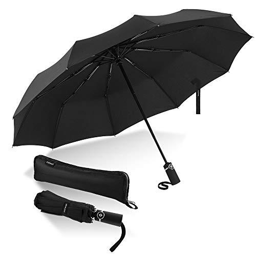 Newdora Windproof Reise Regenschirm Golf Regenschirm Auto Open Close, Leichte 10 Ribs Automatische Windproof Canopy Compact mit Licht Reflektierende mit Geschenktüte Trockenbeutel
