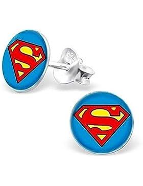 GH1a Superman Ohrstecker 925 Echt Silber Ohrringe Top Geschenkidee