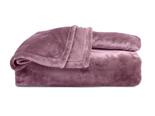 Premium-Microfaser-Flauschdecke - 17 Fantastische Farben - 3 Komfortgrößen - federleicht & kuschelweich - zu Hause & auf Reisen, 220 x 240 cm, Altrosa Premium-magenta Rose