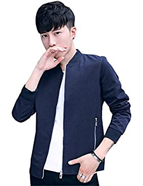 Haroty Hombres Chaqueta Slim Bordado Bomber Otoño Primavera Casual Manga Larga Cuello Alto Jacket Coat