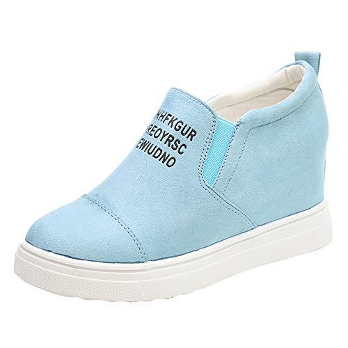 MYMYG Winter Schuhe für Damen Ankle Letter Zunehmende Keile Schuhe Kurze Stiefel Kurzschaft Casual Ankle Boot Slip-On Runde Runde Zehe Schuhe reizeit Outdoor
