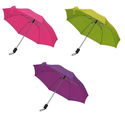 3x Taschen-Regenschirm / mit Schutzhülle / Farbe: je 1x pink, lila und apfelgrün
