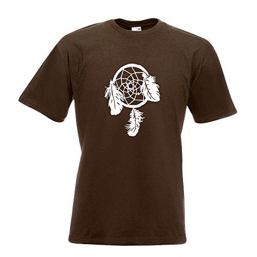 Kiwistar Traumfänger - Indianer - Western T-Shirt in 15 Verschiedenen Farben - Herren Funshirt Bedruckt Design Sprüche Spruch Motive Oberteil Baumwolle Print Größe S M L XL XXL Chocolate