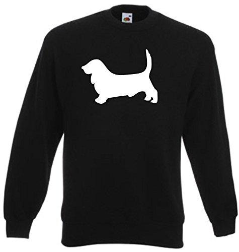 Basset-hound-shirt (Black Dragon - Sweatshirt Herren & Damen schwarz - S - Fruit of the Loom - bedruckt - mit farbigem Brustaufdruck - BASSET HOUND - Dog)