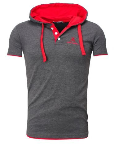Contrast POLO HOODED T-Shirt - anthrazit / rot Größe M