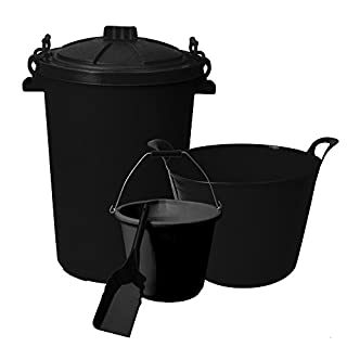 Simpa® 4PC Livery Tack Room Storage & Feed Set: 85L Plastic Clip Lock Feed Storage Bin, 42 Litre Plastic Flexi Mucking Out Tub, 14L Heavy Duty Feed Bucket & Metal Feed Scoop Shovel. Essential Equestri (Black)