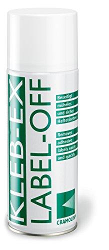 KLEB-EX 200ml Spraydose - Kleberlöser und Etikettenlöser - ITW Cramolin - 1341411 - Etikettenentferner und Kleberentferner, inkl. 1 St. orig. DEWEPRO® SingleScrubs