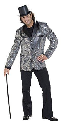 Herren Pailletten Jacke Kostüm - Karneval-Klamotten Pailletten-Jacke Silber mit schwarzen Kragen
