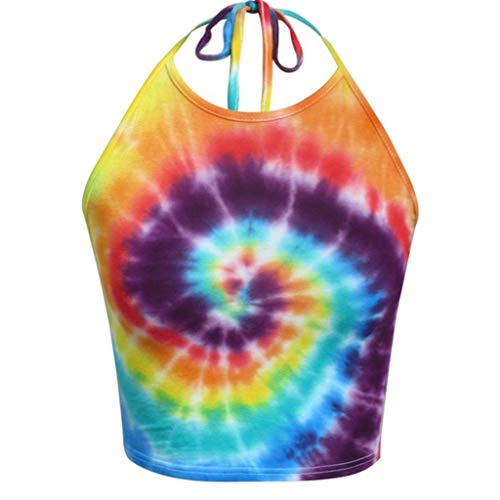 DEELIN Damenmode Damen Halfter ärmelloses Hemd Tie Dye Crop Tops Fashion Camisole T-Shirt Lässiger Trainingsanzug (Orange Fox Kostüm Kit)