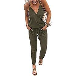 Walant Mode Femmes Combinaison Dos Nu sans Manches Col V Imprimé Floral Camisole Barboteuse Jumpsuit D'été Chic Élégant Slim Pantalon Loose Casual