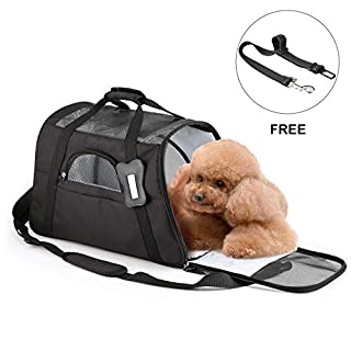 OUTAD Fabric Padded Soft Sided Airline Approved Portable Collapsible Mesh Breathable for Medium Dogs Cats Rabbits Travel Bag Can be Connected with Car Seat Belt - Black(47 * 28 * 29cm)