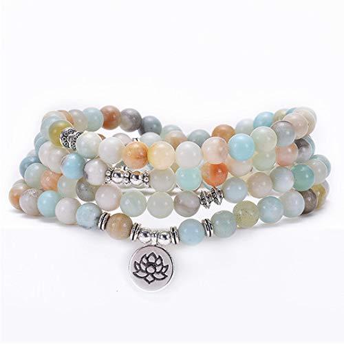 Mayanyan MALA Perlen Armband 8mm108 Perlen Lotus Anhänger 7 Chakra Buddhismus Armband Geschenk Tibetische Gebetskette