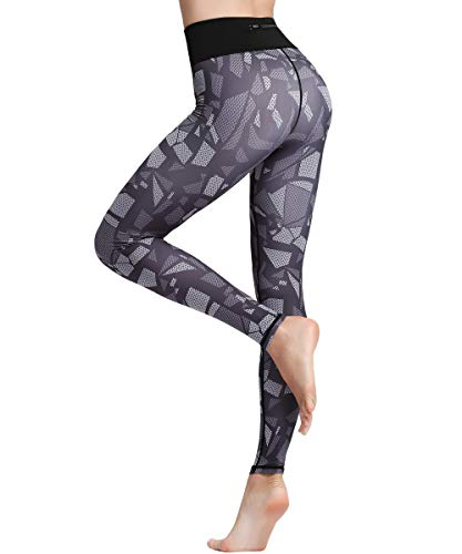 HAPYWER Yoga Leggings Damen Hohe Taille Sporthose Muster Trainingshose Fitnesshose Tummy Control für Laufen Yoga Workout Gym(Cube,XL) - Muster Für Cubes