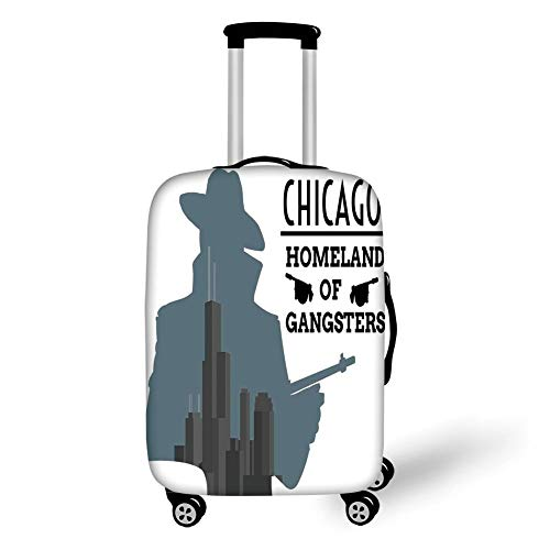 Travel Luggage Cover Suitcase Protector,Vintage Decor,Double Exposure of Gangster with Gun on Chicago Skyscrapers Homeland of Mafia,Grey Black,for Travel M