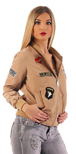 Damen Bomberjacke Jacke mit Patches Gr. XS S M L, 1517 Beige