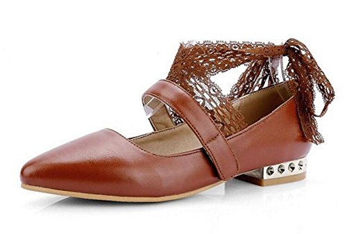 Women 's Closed-Toe pompa i pattini diritte cinturini alla caviglia del nastro Sandali Court Shoes Brown