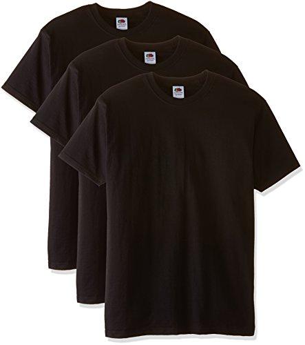 Fruit of the Loom Herren, Regular Fit, T-Shirt, Premium Tee 3 Pack Mehrfarbig (Black/Black/Black)