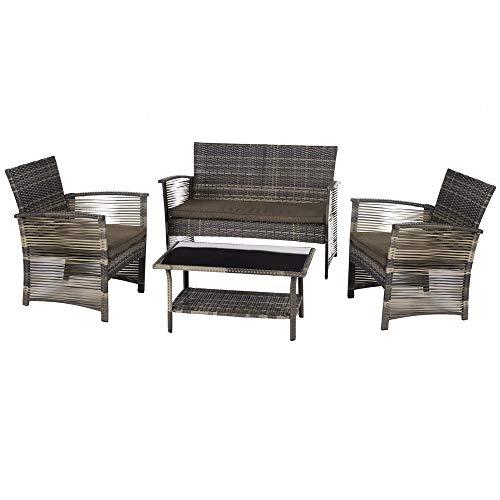 Ldk Garden Conjunto de Muebles para jardín y terraza de ratán Bicolor, Tabaco
