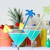 Weisin Barra mezcladora de Coco con Mango Largo, Colorida, mezcladora de Vino, Cuchara mezcladora para cóctel, Fruta, Accesorios de decoración para Bar y Fiesta