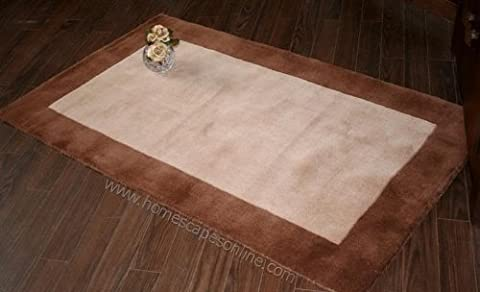 Homescapes Hudson - Chocolate Cream Rug - 120 x 180 cm 4 x 6 Ft - 100% Pure New Wool Hand Tufted