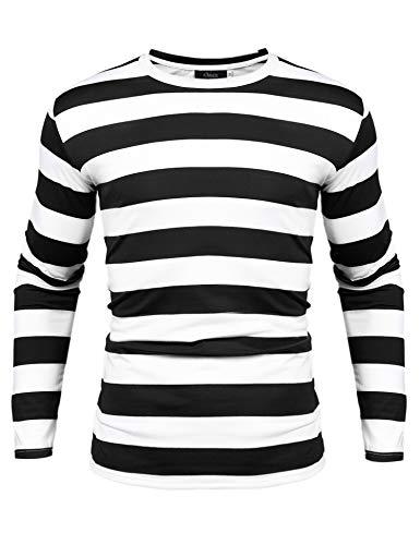 Herren Gestreiftes Shirt Longsleeve Leicht Basic mit Rundhals - Kostüm Schwarzen Und Weißen Streifen