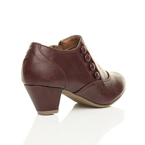 Femmes talons mi bouton fermeture éclair cheville chaussure bottes bottines pointure Bordeaux rouge foncé