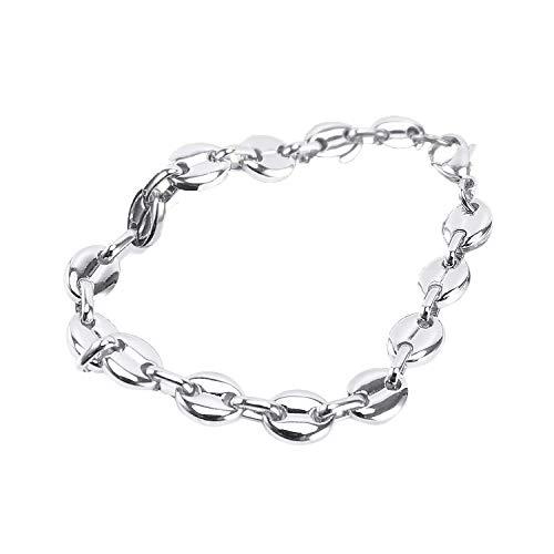 AURSTORE® Bijoux -Bracelet Gourmette avec Chaine de Maille Grain Cafe Acier Inoxydable 316L 11MM (argenté, Acier Chirurgical 316L)