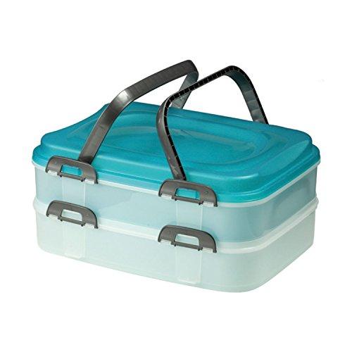 Domotti Dolce Tortenbehälter mit Deckel Behälter für Lebensmittel (2-fach zufällige Farbe)